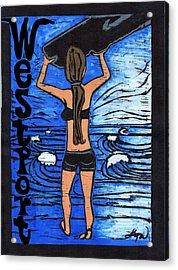 Westport Surfer Chick Acrylic Print by Lyn Hayes
