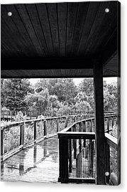 Boardwalk In Black And White 4 Acrylic Print by K Simmons Luna