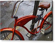 Wet Orange Bike   Nyc Acrylic Print by Joan Reese