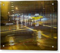 Acrylic Print featuring the photograph Wet Pavement by Alex Lapidus