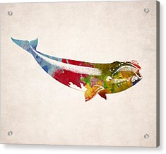 Whale Illustration Design Acrylic Print by World Art Prints And Designs