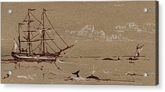 Whaler Ship Frigate Acrylic Print by Juan  Bosco