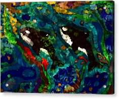 Whales At Sea - Orcas - Abstract Ink Painting Acrylic Print