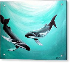 Acrylic Print featuring the painting Whales by Bernadette Krupa