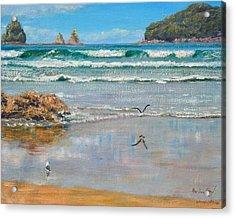Whangamata Beach Acrylic Print by Peter Jean Caley