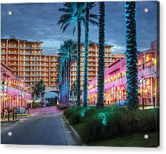 Acrylic Print featuring the photograph Wharf Blue Lighted Trees by Michael Thomas