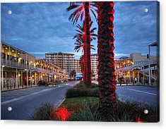 Acrylic Print featuring the digital art Wharf Red Lighted Trees by Michael Thomas