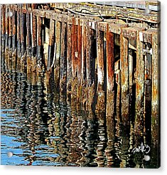Wharf Reflections Acrylic Print by Jim Pavelle