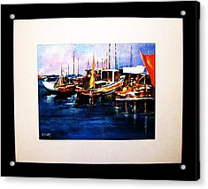 Acrylic Print featuring the painting Wharf Scene by Al Brown