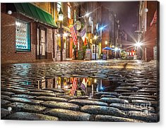 Wharf Street Puddle Acrylic Print by Benjamin Williamson