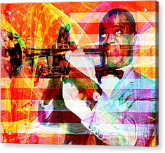 What A Wonderful World Louis Armstrong With Flag And Statue Of Liberty 20141218 Acrylic Print by Wingsdomain Art and Photography