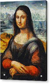 Acrylic Print featuring the painting What If Vincent Van Gogh Had Painted Mona Lisa? by Kai Saarto