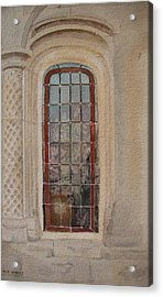 What Is Behind The Window Pane Acrylic Print by Mary Ellen Mueller Legault