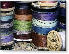 Spools Of Thread Acrylic Print by Jean OKeeffe Macro Abundance Art