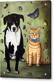 What's Bugging Luke And Molly Acrylic Print by Leah Saulnier The Painting Maniac