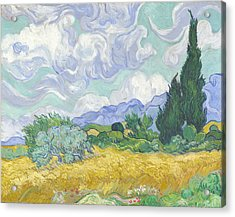 Wheat Field With Cypresses Acrylic Print by Georgia Fowler