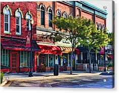 Wheaton Front Street Store Fronts Acrylic Print by Christopher Arndt