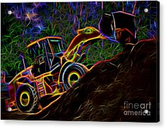 Wheel Loader Moving Dirt - Neon Acrylic Print