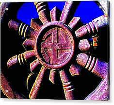 Acrylic Print featuring the photograph Buddhist Dharma Wheel 1 by Peter Gumaer Ogden