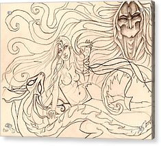 When Demons And Dragons Clash Sketch Acrylic Print by Coriander  Shea