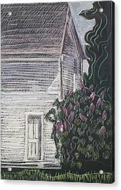 Acrylic Print featuring the drawing When Lilacs Last... by Grace Keown
