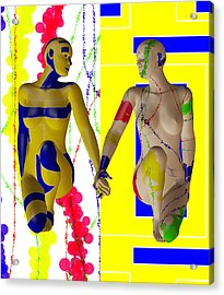 When Modern Met Abstract  Acrylic Print by Sir Josef - Social Critic -  Maha Art