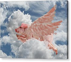 When Pigs Can Fly - Flying Pig Acrylic Print
