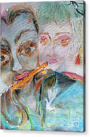 When She Fall In Love With The Vagabond Flute Player Acrylic Print