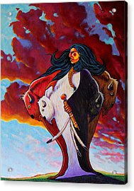 When The White Buffalo Woman First Appeared Acrylic Print by Joe  Triano