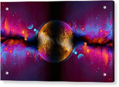 When Worlds Collide In Fire Acrylic Print by Elaine Plesser
