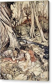 Where Often You And I Upon Fain Primrose Beds Were Wont To Lie Acrylic Print by Arthur Rackham