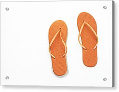 Where On Earth Is Spring - My Orange Flip Flops Are Waiting Acrylic Print by Andee Design