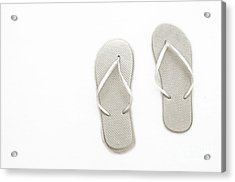 Where On Earth Is Spring - My Silver Flip Flops Are Waiting Acrylic Print by Andee Design