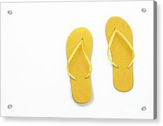 Where On Earth Is Spring - My Yellow Flip Flops Are Waiting Acrylic Print by Andee Design
