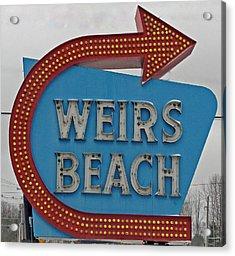 Where's Weirs? Acrylic Print by Barbara McDevitt