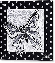 Whimsical Black And White Butterfly Original Painting Decorative Contemporary Art By Madart Studios Acrylic Print by Megan Duncanson