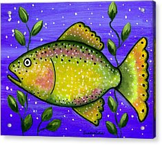 Whimsical Folk Art Fish Acrylic Print by Sandra Estes