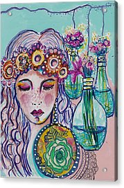 Whimsical Hippie Girl Acrylic Print