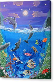 Whimsical Original Painting Undersea World Tropical Sea Life Art By Madart Acrylic Print by Megan Duncanson