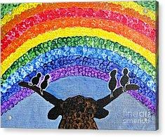 Whimsical Rainbow Sky - Longhorn And Couple Of Love Birds Painting Acrylic Print