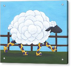 Whimsical Sheep Art Acrylic Print by Christy Beckwith