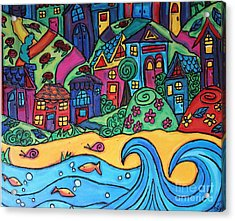 Whimsical Town Sectional  Acrylic Print by Cynthia Snyder