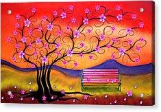 Acrylic Print featuring the digital art Whimsy Cherry Blossom Tree-1 by Nina Bradica