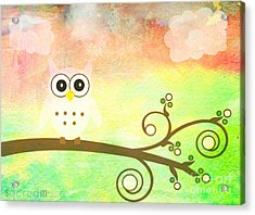Whimsy Owl Kids Art Acrylic Print by Sacred  Muse
