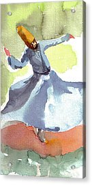 Acrylic Print featuring the painting Whirling Dervish by Faruk Koksal