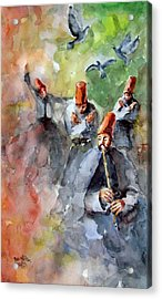 Whirling Dervishes And Pigeons         Acrylic Print by Faruk Koksal