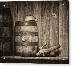 Whiskey Barrel Still Life Acrylic Print by Tom Mc Nemar