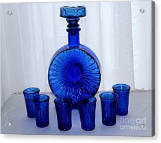 Whiskey Decanter And Shot Glasses Acrylic Print by Barbara Griffin