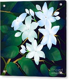 Acrylic Print featuring the digital art Whispering Jasmines by Latha Gokuldas Panicker