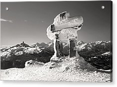 Whistler Summit Inukshuk Black And White Acrylic Print